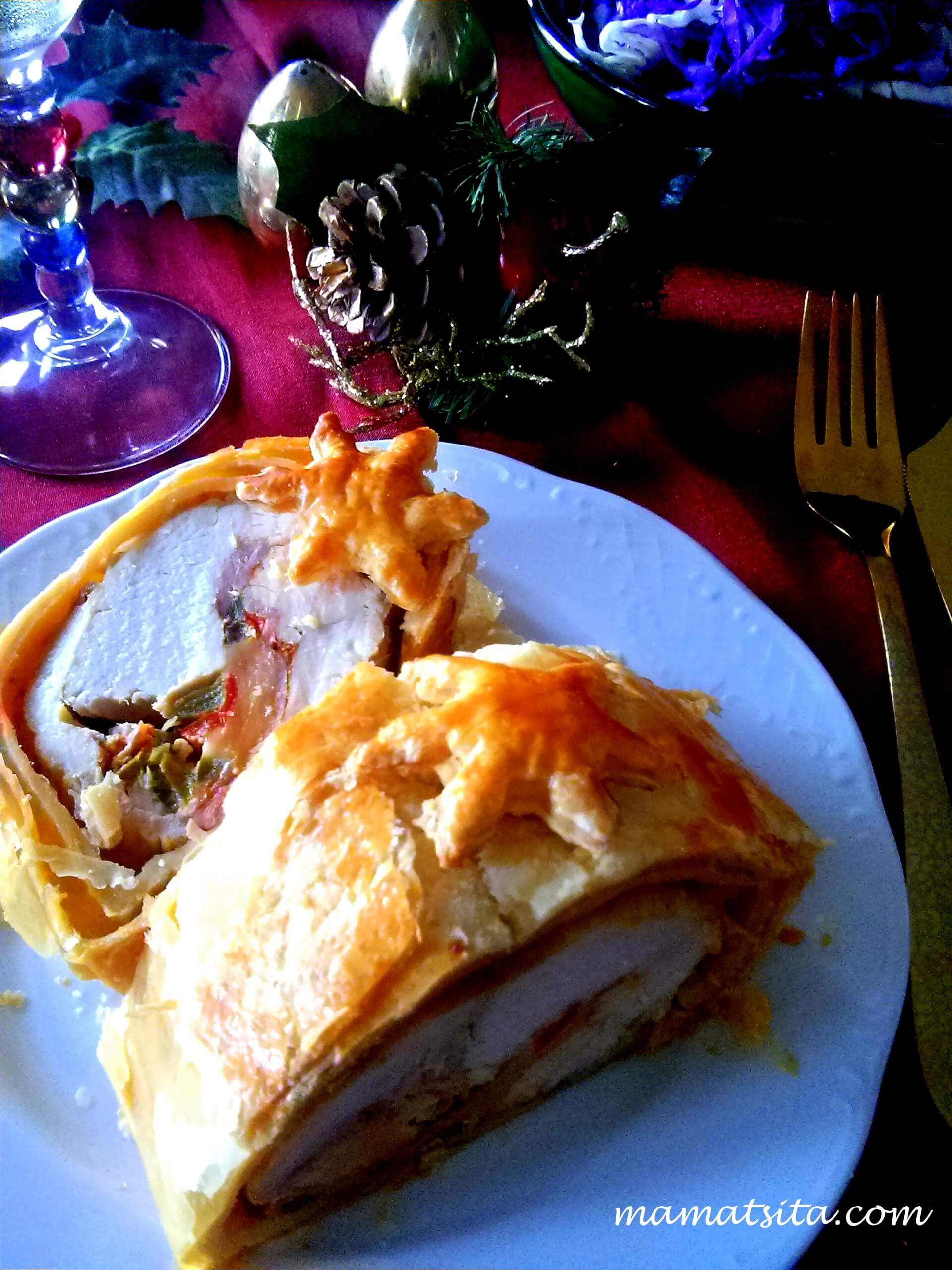 εορταστικό ρολό κοτόπουλο